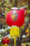 Lanterna vermelha chinesa no templo chinês Fotos de Stock