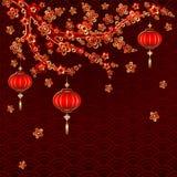 Lanterna vermelha do ano novo no fundo colorido Imagens de Stock Royalty Free