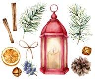 Lanterna vermelha do Natal da aquarela com decoração Lâmpada pintado à mão com vela, ramos do abeto e cones, sinos, zimbro ilustração royalty free