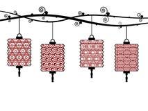 Lanternas chinesas ilustração do vetor