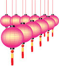 Lanternas chinesas coloridas ilustração stock