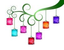 Lanternas chinesas coloridas Fotografia de Stock Royalty Free