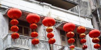 Lanternas chinesas do ano novo em chinatown Foto de Stock Royalty Free