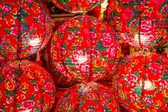 Lanternas chinesas modernas coloridas do close-up Foto de Stock