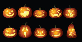 Lanternas da abóbora de Dia das Bruxas na noite ilustração do vetor