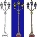 Lanternas da rua da cidade do vetor ajustadas Fotografia de Stock