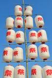 Lanternas de papel japonesas brancas e vermelhas Fotografia de Stock