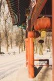 Lanternas de papel japonesas em um templo no inverno imagem de stock royalty free
