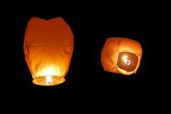 Lanternas de papel no fundo preto Imagens de Stock Royalty Free