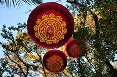 Lanternas de suspensão chinesas da decoração tradicional do ano novo em uma árvore Foto de Stock