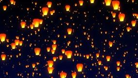 Lanternas de voo do c?u no c?u noturno ilustração stock