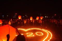 Lanternas do Lit a rezar Fotografia de Stock Royalty Free