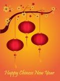 Lanternas e ano novo chinês feliz ilustração stock