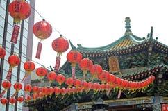 Lanternas vermelhas no bairro chinês de Yokohama Fotografia de Stock Royalty Free