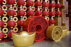 Lanternas vermelhas que decoram o ano novo chinês Fotos de Stock Royalty Free