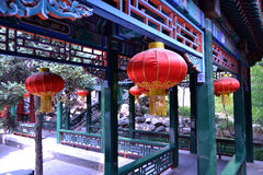 Lanternas vermelhas tradicionais chinesas Foto de Stock