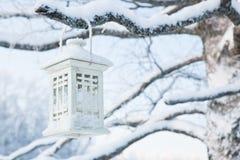 Lanterne accrochant dans l'arbre à l'hiver Images libres de droits