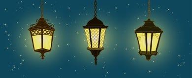Lanterne accrochante d'éclairage extérieur Lanterne tirée par la main Image stock