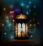 Lanterne arabe avec le modèle ornemental pour Ramadan Kareem Images stock