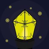 Lanterne brûlante avec des lucioles Image stock