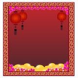 Lanterne chinoise avec des or - illustration Image libre de droits