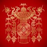 Lanterne chinoise de tradional sur le fond rouge Photo stock