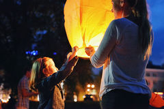 Lanterne chinoise la nuit Images libres de droits