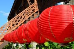 Lanterne chinoise rouge accrochante pour le festival et la décoration image libre de droits
