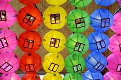Lanterne cinesi al tempio Seoul di Bongeunsa Fotografia Stock Libera da Diritti