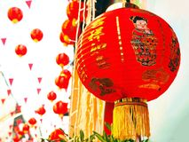 Lanterne cinesi alla Chinatown Fotografia Stock