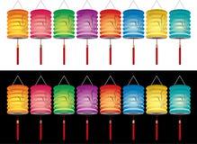 Lanterne cinesi con il reticolo Immagini Stock Libere da Diritti