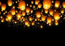 Lanterne cinesi della mosca Immagini Stock
