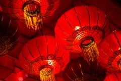 Lanterne cinesi di rosso del nuovo anno Fotografia Stock Libera da Diritti