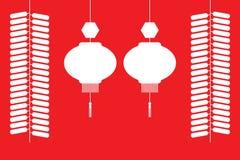 Lanterne cinesi e petardi Fotografia Stock