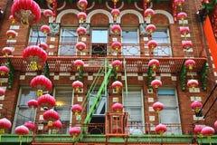 Lanterne cinesi rosse Fotografie Stock