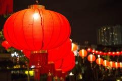 Lanterne cinesi rosse sul nuovo anno in Chinatown fotografie stock libere da diritti