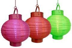 Lanterne cinesi - su bianco Fotografia Stock