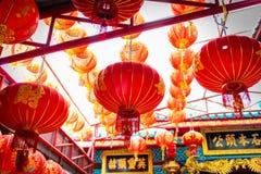 Lanterne cinesi in tempio cinese Immagine Stock