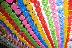 Lanterne Colourful nella fila Fotografia Stock
