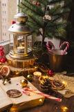 Lanterne de bougie de Noël images stock