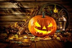 Lanterne de cric de tête de potiron de Halloween Photos libres de droits