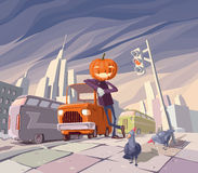 Lanterne de Jack O et son véhicule orange. Images stock