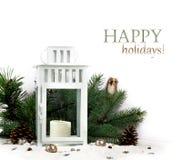 Lanterne de Milou et boules bleues de Noël Image stock