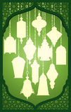 Lanterne de Ramadan avec le cadre décoratif islamique Images stock