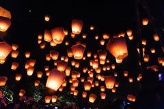 Lanterne del cielo nel festival di lanterna Fotografie Stock Libere da Diritti