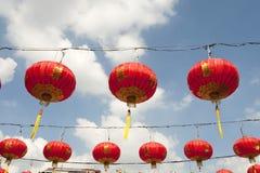 Lanterne di carta cinesi durante l'nuovo anno cinese, città della porcellana di Yaowaraj Fotografia Stock Libera da Diritti