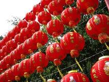 Lanterne di carta cinesi rosse Fotografia Stock