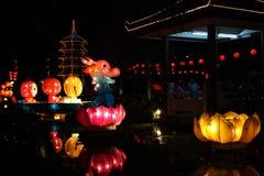 Lanterne di carta del grande drago multicolore che galleggiano sull'acqua alla notte fotografia stock