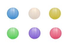Lanterne di carta multiple nei colori differenti Fotografia Stock