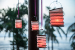 Lanterne di carta nel gazebo Fotografia Stock